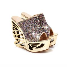 Women Open Toe Sequins Wedge Wings Heels. Women's Shoes Size:5,6,6.5,7.5,8.5. Women Shoes Size. We will solve your problem as soon as possible. 40=25.5CM. 38=24CM. Color:Gold, Silver. 37=23.5CM. | eBay!