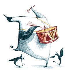 Click to enlarge illustration: Penguin drumming