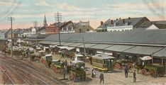 View of the French Market 1888, along the vegetable stalls fronting N St Peters street, looking towards the cathedral.