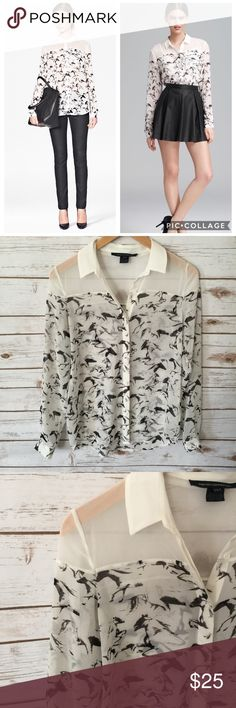 French Connection // White Horse Print Blouse // 2 Adorable white sheer button down blouse, with black horse print. US sz 2. Preloved, in excellent like-new condition. French Connection Tops Blouses