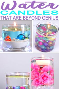 Learn how to make water candles. These are super fun and cool. You can make these in under 5 minutes and have super cute room decor and the best homemade candles. No melt & pour candle for this one – just water! Velas Diy, Diy For Kids, Crafts For Kids, Diy Candles Easy, Making Candles, Cool Candles, How To Make Candels, Small Candles, Homemade Scented Candles