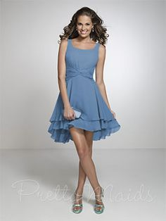 Light Blue Bridesmaid Dress - Short, Has Straps