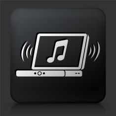Black Square Button with Music Icon vector art illustration