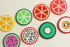Please do visit my blog and leave a comment - www.prisje.nl - Hama, perler, perler beads, emoji, smiley, onderzetter, coaster, summer, coasters, onderzetters, fruit, fruity, strijkkralen, diy, crafts, craft, do it yourself, knutselen -