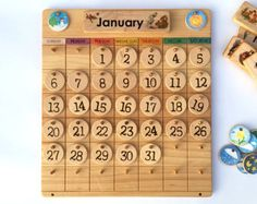 Wooden Perpetual Calendar and Weather Chart