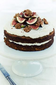 Apple spiced tea cake with whipped vanilla-coconut cream and maple candied walnuts.