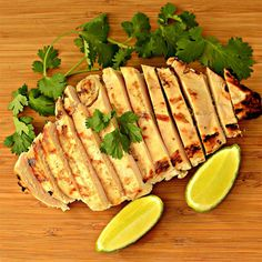 Chicken gets a quick marinade in lime juice and cilantro before grilling to perfection in this quick and easy, kid-approved dish! Marinated Grilled Chicken, Grilled Chicken Recipes, Pasta Recipes, Dinner Recipes, Cooking Recipes, Food Dishes, Main Dishes, How To Cook Chicken, Cilantro
