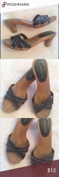 Ann Taylor Heels Ann Taylor Sandal Heels are Size 7 medium. Leather upper. Minimal wear with some darkening of man made sole. Comfortable!  Feel free to make an offer. Ann Taylor Shoes Sandals