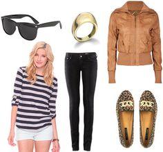 Jacket + jeans + striped blouse