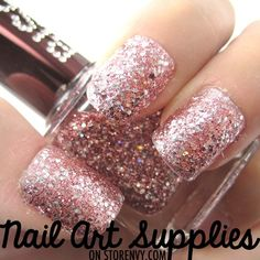 This nail polish is made from a mixture of large silver glitters on small fine pink glitters in a clear base.     To remove place a cotton ball soaked with nail polish remover on your nail and swipe it off after 30 seconds.    ••••••••••••••••••••••••••••••••••••••••  This listing is for ONE FULL...