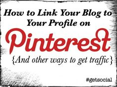 Use #Pinterest to Get More Traffic | Get Traffic Using Pinterest  People pin images from your site, which links back to your site, and when someone sees an image with a title they like, they click on it, and now they are reading your information.