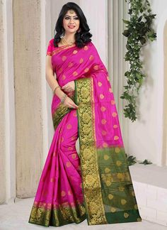 Buy Fuschia Pink Art Silk Saree online from the wide collection of sari. This Pink colored sari in Art Silk fabric goes well with any occasion. Shop online Designer sari from cbazaar at the lowest price. Kurti Sleeves Design, Sleeves Designs For Dresses, Kurti Neck Designs, Blouse Designs, Indian Sarees Online, Silk Sarees Online, Indian Ladies Dress, Designer Blouse Patterns, Designer Sarees Online