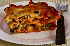 Kalyn's Kitchen®: Recipe for Vegetarian Lasagna with Kale and Mushroom-Tomato Sauce