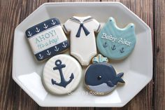 Nautical baby shower cookies-l- Clough'D 9 Cookies & Sweets Baby Party, Baby Shower Parties, Baby Shower Themes, Baby Shower Decorations, Shower Ideas, Shower Centerpieces, Baby Shower Cakes, Baby Boy Shower, Baby Shower Marinero