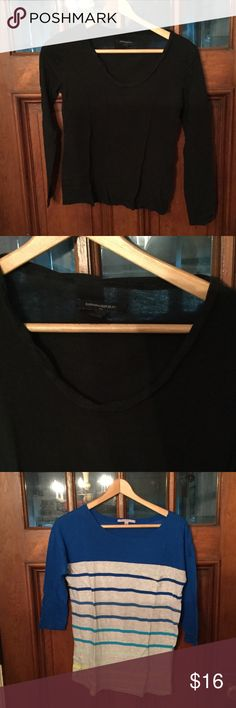 One Banana Republic shirt and one Gap shirt Two shirts in great condition! The black is from Banana Republic and is a size small. It is long sleeved with a ruffled collar. The striped one is from Gap and a size extra small. It has three quarter sleeves. GAP Tops Tees - Long Sleeve