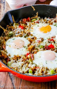 Crisp Hash Breakfast Skillet-- emphasis on the crispy! My secrets to making crunchy, golden brown shredded hash browns. This simple breakfast skillet is full of flavor and texture! (Sans the bacon)