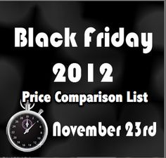 Black Friday Price Comparison List- All the deals from all major retailers in one spot!