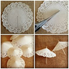 como hacer sombrillitas de blonda - how to do doilies mini-umbrellas