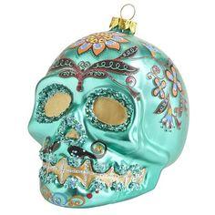 Sugar Skull Glass Ornament - Green.   Oh my God!  Oh my God!  Oh my God!  I want it!  I need it!  I love it!