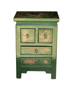 $300 on sale  Green Chinese Floral Painting End Table & Nightstand - Golden Lotus Antiques
