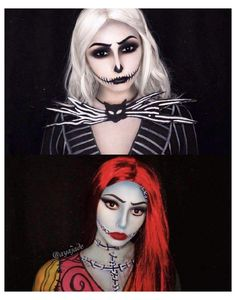 Fete Halloween, Halloween Makeup Looks, Couple Halloween Costumes, Halloween Cosplay, Sally Halloween Costume, Skeleton Costumes, Christmas Costumes, Halloween Halloween, Vintage Halloween