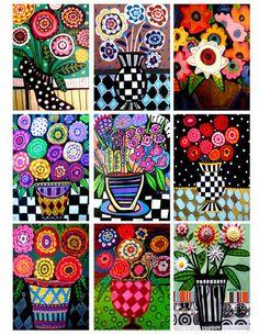 Flowers ACEO Card print set by Heather Galler Abstract Modern Folk Art Floral Folk Art Flowers, Flower Art, Shabby Flowers, Painting Flowers, Art Floral, Inspiration Artistique, Spring Art, Naive Art, Whimsical Art