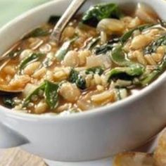 Popeye's Crock Pot Soup | 3 boneless chicken breasts, cut into bite size pieces 2 c chicken broth 1 1/2 c celery 1 can(s) lima beans 1 can(s) cannelloni beans 1 pkg frozen chopped spinach, thawed and liquid squeezed out 1 onion, chopped 1/2 c white rice, uncooked (brown or wild rice for a healthier dish) 1 pinch dill, salt and pepper 2 clove garlic, diced