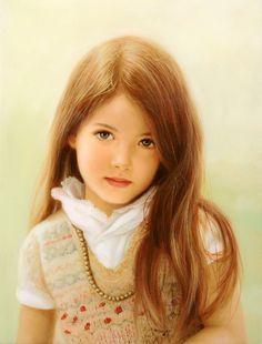 Portrait by Ed Copley, Portraits Pastel, Child Portraits, Girl Pose, Wise Women, Foto Art, Watercolor Drawing, Portrait Art, Portrait Paintings, Beautiful Paintings