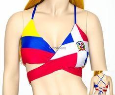 Padded Colombian Flag And Dominican Republic Flag Bikini Top Etsy Flag Bikini Knitted Swimsuit Bikini Tops