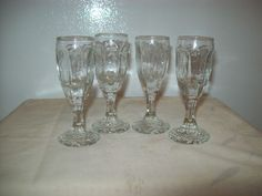 Miniature 6 Sided Liqueur Sherry Wine Cordials Glasses Set of 4