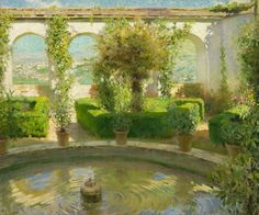 potted trees Spanish Garden, Potted Trees, Antique Show, Palm Beach Jewelry, Water Features, Impressionism, Fountain, Landscape, World