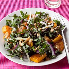Roasted Squash and Kale Salad:  This roasted vegetable salad gets a nutty upgrade thanks to the peanut butter-based dressing. You'll get 8 grams each of protein and fiber, making this a satisfying meatless lunch option. | Health.com