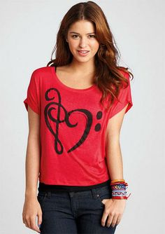 Music Note Heart Tee - View All Graphic Tees - Graphic Tees - dELiA*s