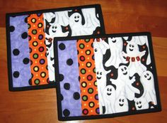 Quilted Mug Rugs Snack Mats Candle Mat Halloween by bonnpati, $13.00