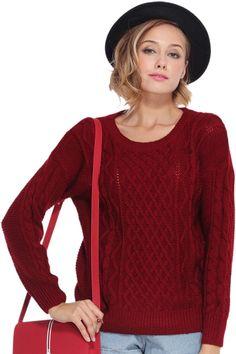 Loose-knit Sheer Wine-red Jumper