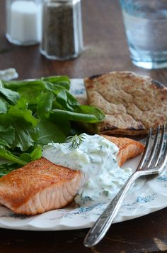 Seared Salmon with Tzatziki Sauce Recipe...makes a super fast, healthy, and delicious meal!
