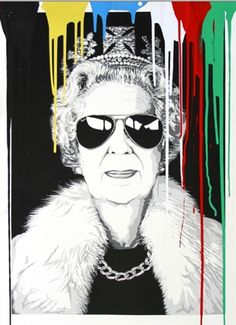 Queen of Cool Urban Graffiti, Graffiti Art, Mr Brainwash, Save The Queen, Double Exposure, Wall Collage, Yorkie, Illustration, Original Artwork