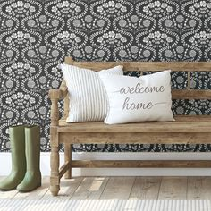 Folksy Floral Wallpaper.  Vintage look. $79.95 per double roll.  Cottage Chic. Modern Farmhouse. 4 colors. Simply Farmhouse collection by @YorkWall_Co #wallpaper #wallcoverings #modernfarmhousedecor #cottagechicdecor #homedecorideas #DIY #BuyAmerican Modern Farmhouse Decor, Farmhouse Style, Black And Grey Wallpaper, Mobile Home Renovations, Pantry Design, Burke Decor, Black And White Design, Wallpaper Roll, Cottage Chic
