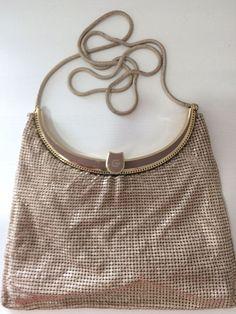 Antique Art Deco Silver Frame Brown Tan Cream Enamel Chain Mail Purse W&d Clothing, Shoes & Accessories