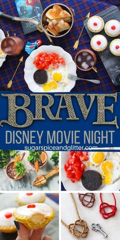 Everything you need to plan the ultimate BRAVE Movie Night, a fun family tradition. This post includes a free printable movie night planner, craft instructions, and recipes for an easy Disney movie night that adds magic to your week Disney Themed Food, Disney Inspired Food, Disney Food, Disney Recipes, Movie Night Snacks, Night Food, Family Movie Night, Disney Family Movies, Disney Movie Nights