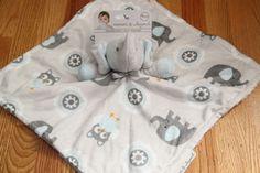 Blankets & Beyond Baby Boy Security Blanket ~ Elephants & Owls~ Gray & Blue~  #BlanketsandBeyond