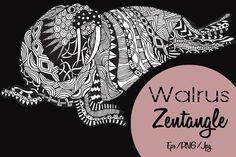 Walrus Zentangle by LidiaP on Creative Market