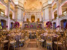 Elegance comes easy when you pair smoky purple with mixed #metallic #sequin #wedding linen. #weddingreception