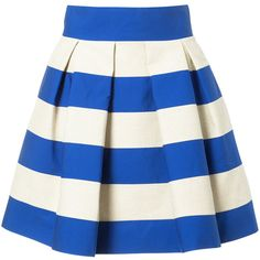 Delpozo striped skirt ($1,400) ❤ liked on Polyvore featuring skirts, blue, blue white skirt, white knee length skirt, blue skirt, white skirt and stripe skirts