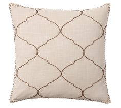 Tile Embroidered Pillow Cover, 22 x 22