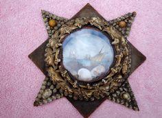 Mouse over image to zoom    Have one to sell? Sell it yourself  1800s Sailors Valentine Victorian RARE Shell Art flat Glass 8 Pointed STAR frame