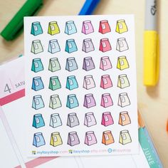 42 Lunch Bags | Breakfast Bags Doodles Icons -  Colourful Hand Drawn Sticker Planner by FasyShop on Etsy