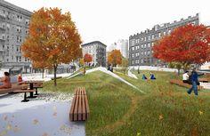 Hudson Yards, Public, Green Street, Urban Planning, Urban Design, Landscape Design, Dolores Park, Street View, Exterior