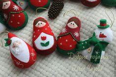 Купить Набор новогодних игрушек - комбинированный, фетр, Новый Год, елочные украшения, фетр, бусины