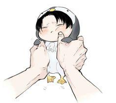 KAWAII CHIBI PENGUIN LEVI #anime #manga